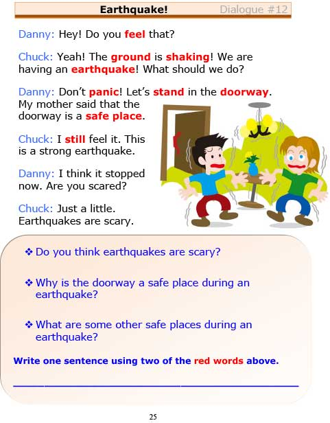 ESL Dialogues: Earthquake (Low-Intermediate) -
