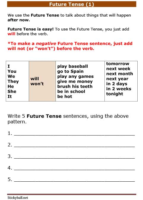 esl grammar worksheets  future tense  1