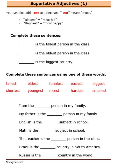 ESL Grammar Worksheets: Introduction to Superlative Adjectives -