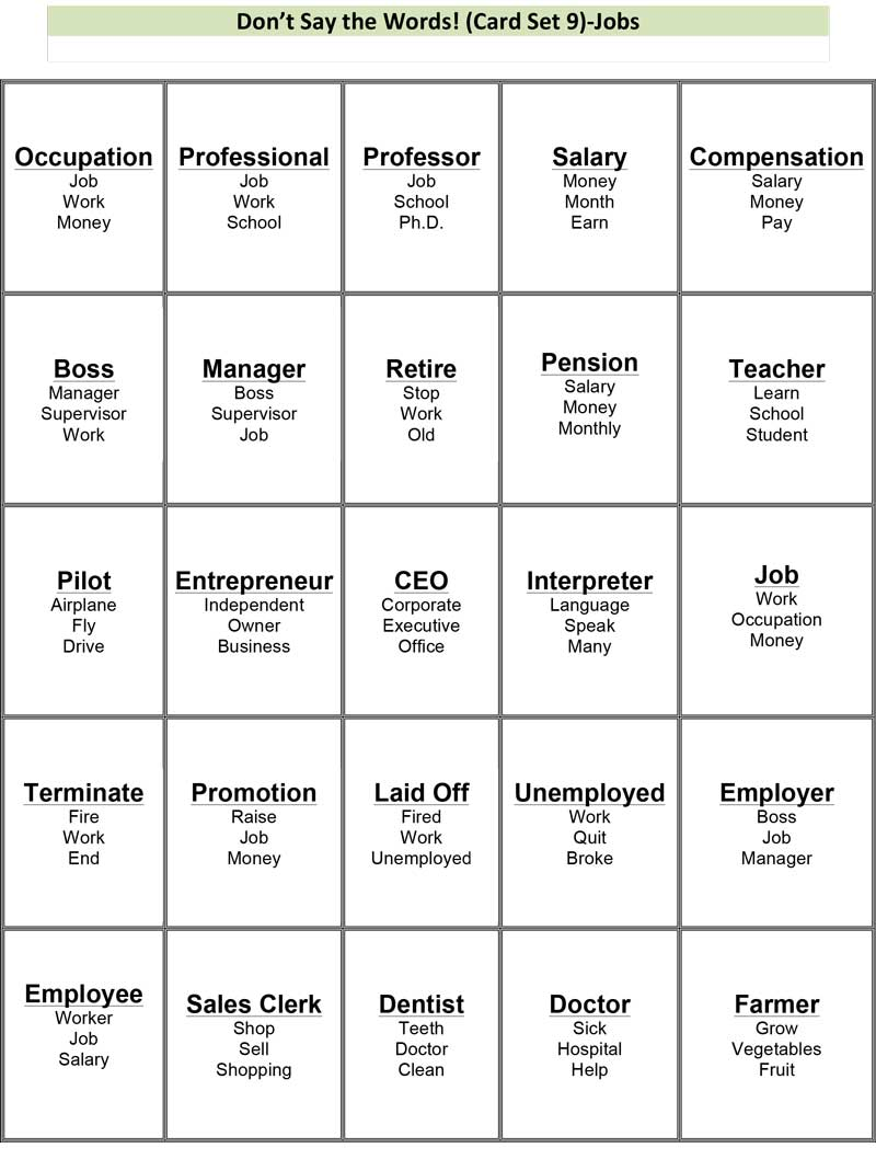 photo relating to Printable Taboo Cards known as Dont Say the Phrases! (Innovative: Work) -