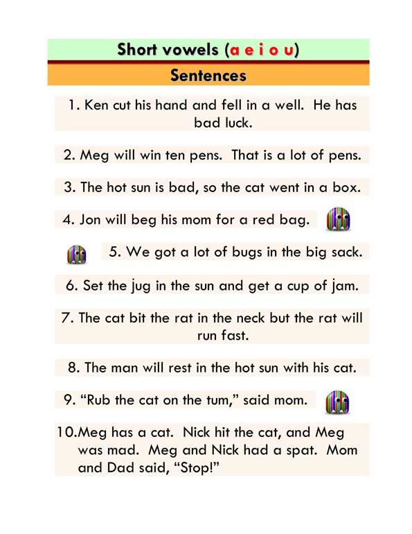 Short Vowels (mixed) - Word List and Sentences -