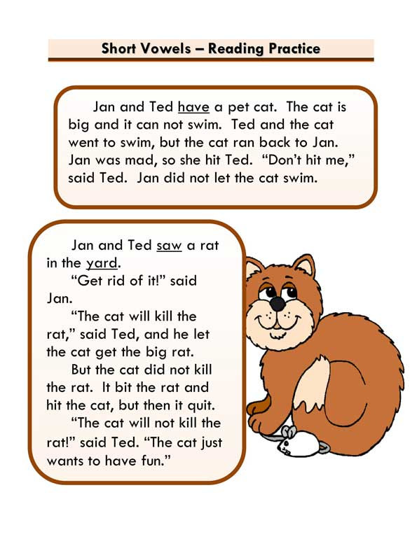 Short Vowels Story -